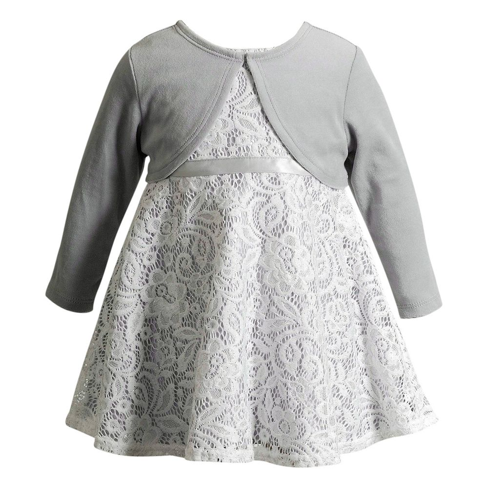 Girl Youngland Sleeveless Lace Dress & Cardigan Set