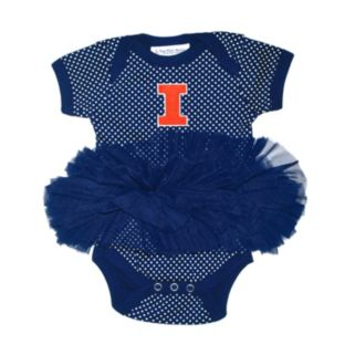 Baby Two Feet Ahead Illinois Fighting Illini Pin Dot Tutu Bodysuit