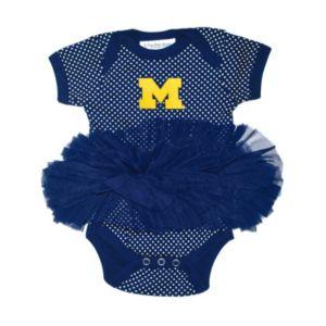 Baby Two Feet Ahead Michigan Wolverines Pin Dot Tutu Bodysuit