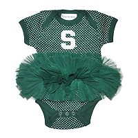 Baby Two Feet Ahead Michigan State Spartans Pin Dot Tutu Bodysuit