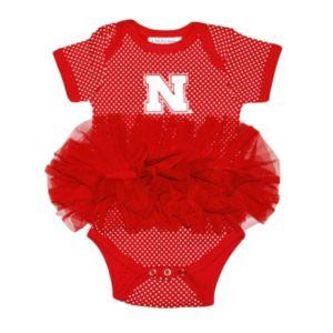 Baby Two Feet Ahead Nebraska Cornhuskers Pin Dot Tutu Bodysuit
