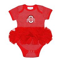 Baby Two Feet Ahead Ohio State Buckeyes Pin Dot Tutu Bodysuit