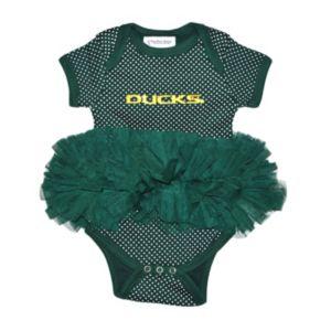 Baby Two Feet Ahead Oregon Ducks Pin Dot Tutu Bodysuit