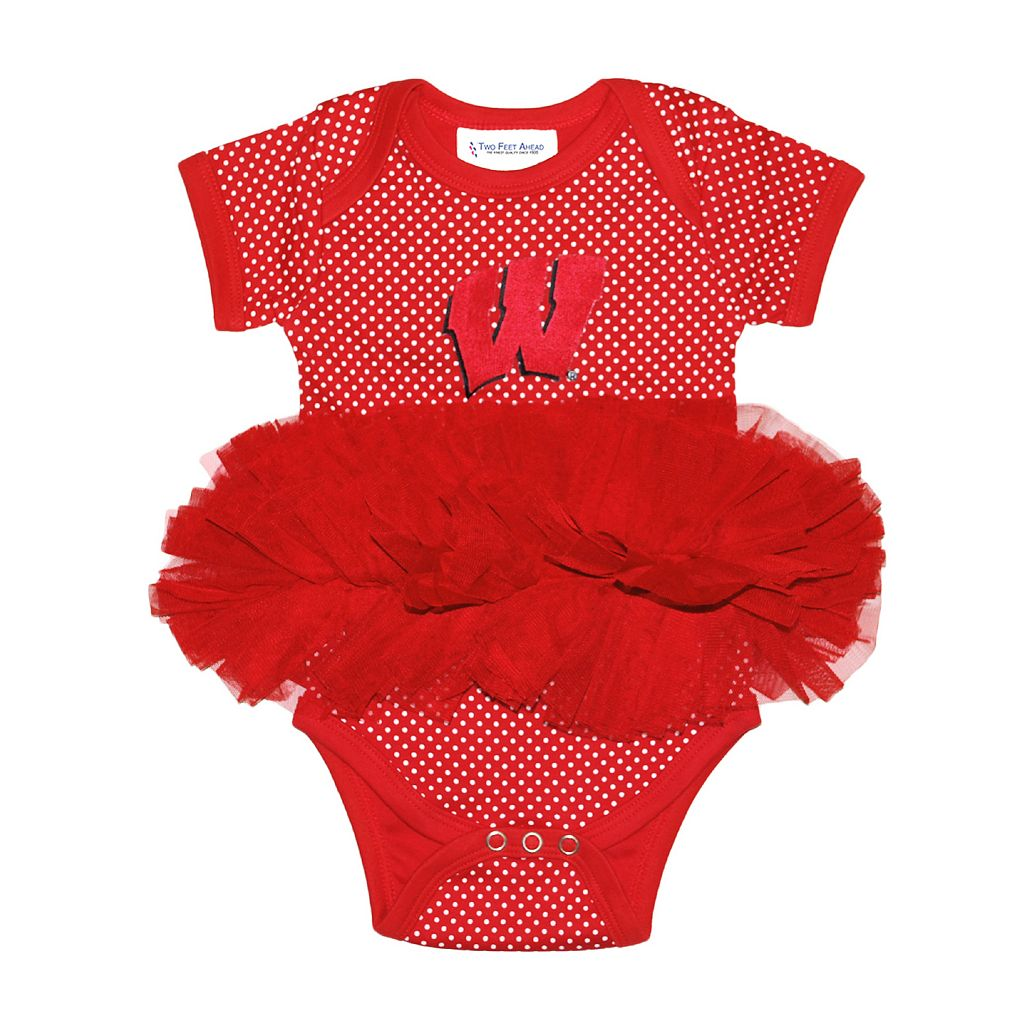 Baby Two Feet Ahead Wisconsin Badgers Pin Dot Tutu Bodysuit