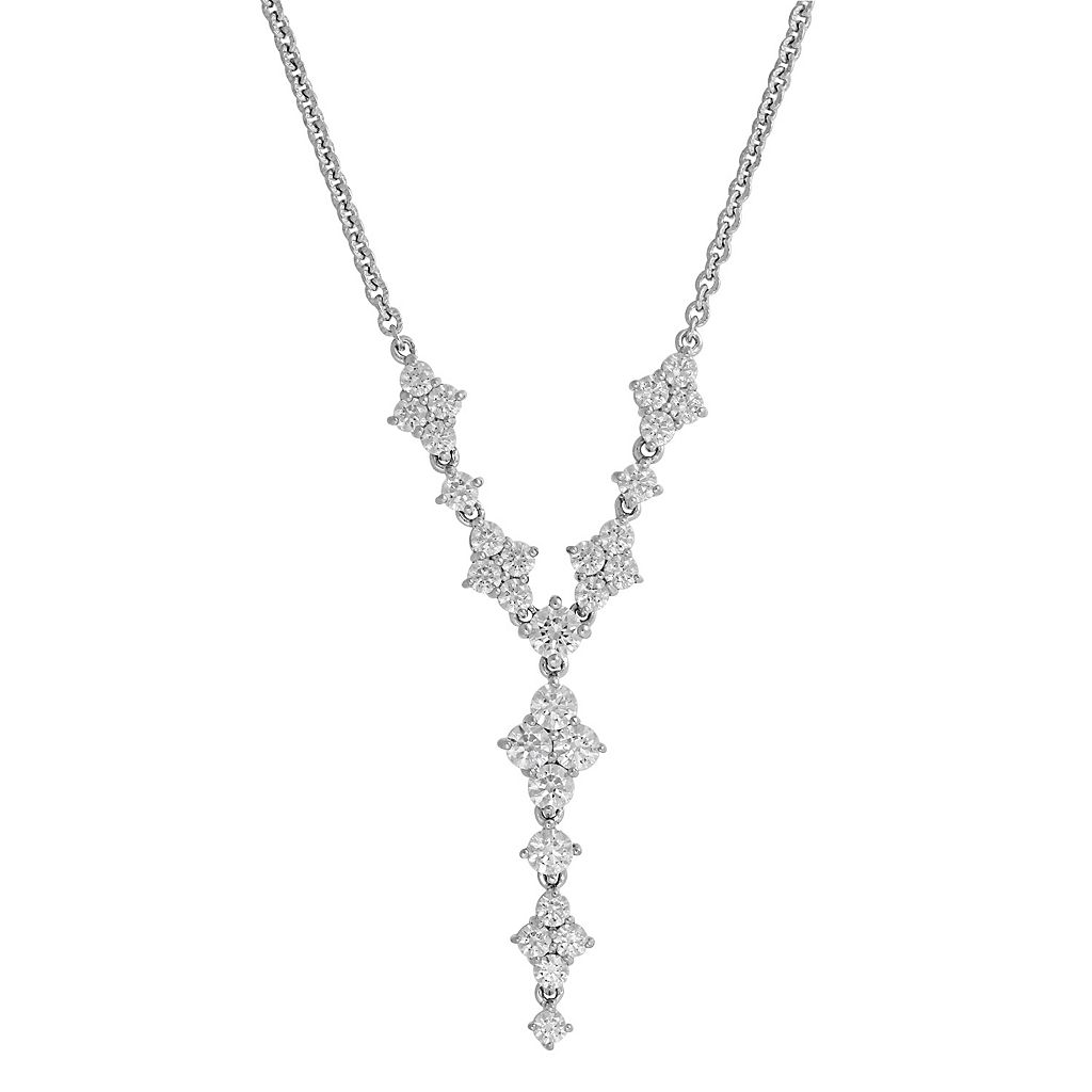 Emotions Sterling Silver Cubic Zirconia Y Necklace