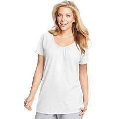 Plus Size Just My Size  Slubbed Jersey Shirred V-Neck  Tee