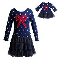 Girls 4-14 Dollie & Me Drop Waist Polka Dot Bow Dress Set