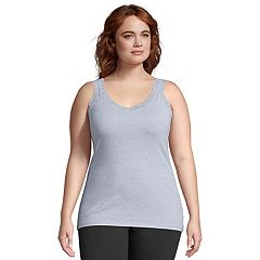 Plus Size Just My Size  Jersey Lace Trim Tank