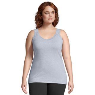 Plus Size Just My Size  Jersey Lace Trim Tank