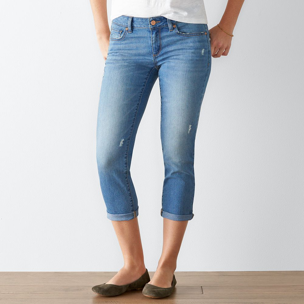 SONOMA Goods for Life™ Faded Cuffed Capri Jeans