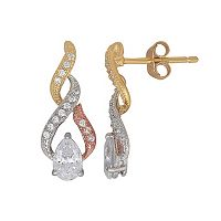Emotions Tri Tone 18k Gold Over Silver Cubic Zirconia Drop Earrings