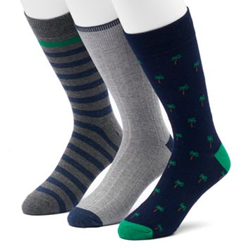 Men's SONOMA Goods for Life™ 3-pack Palm Trees, Solid & Striped Crew Socks
