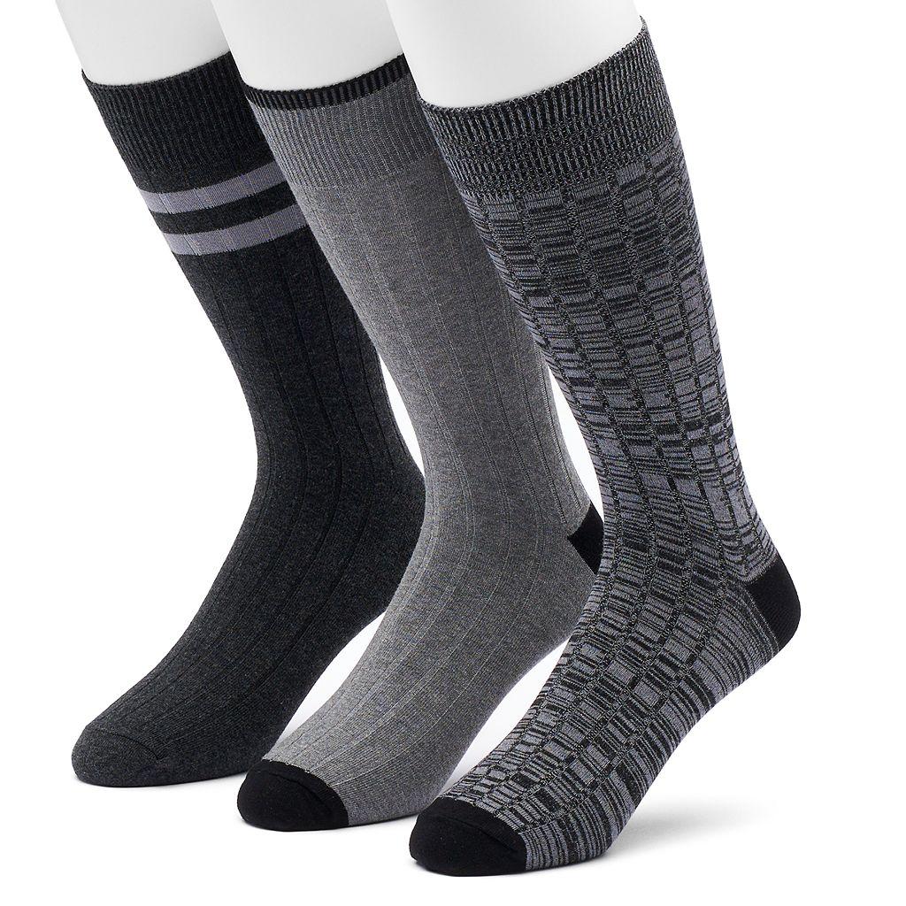 Men's SONOMA Goods for Life™ 3-pack Solid & Patterned Crew Socks