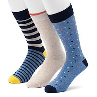 Men's SONOMA Goods for Life™ 3-pack Solid, Dot & Striped Crew Socks