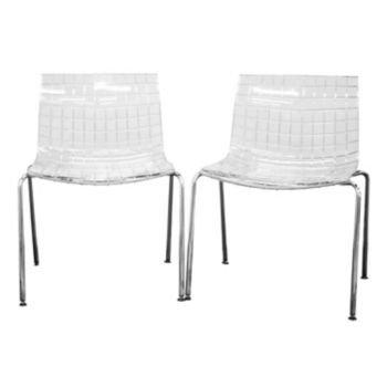 Baxton Studio Obbligato Transparent Acrylic Accent Chair 2-piece Set