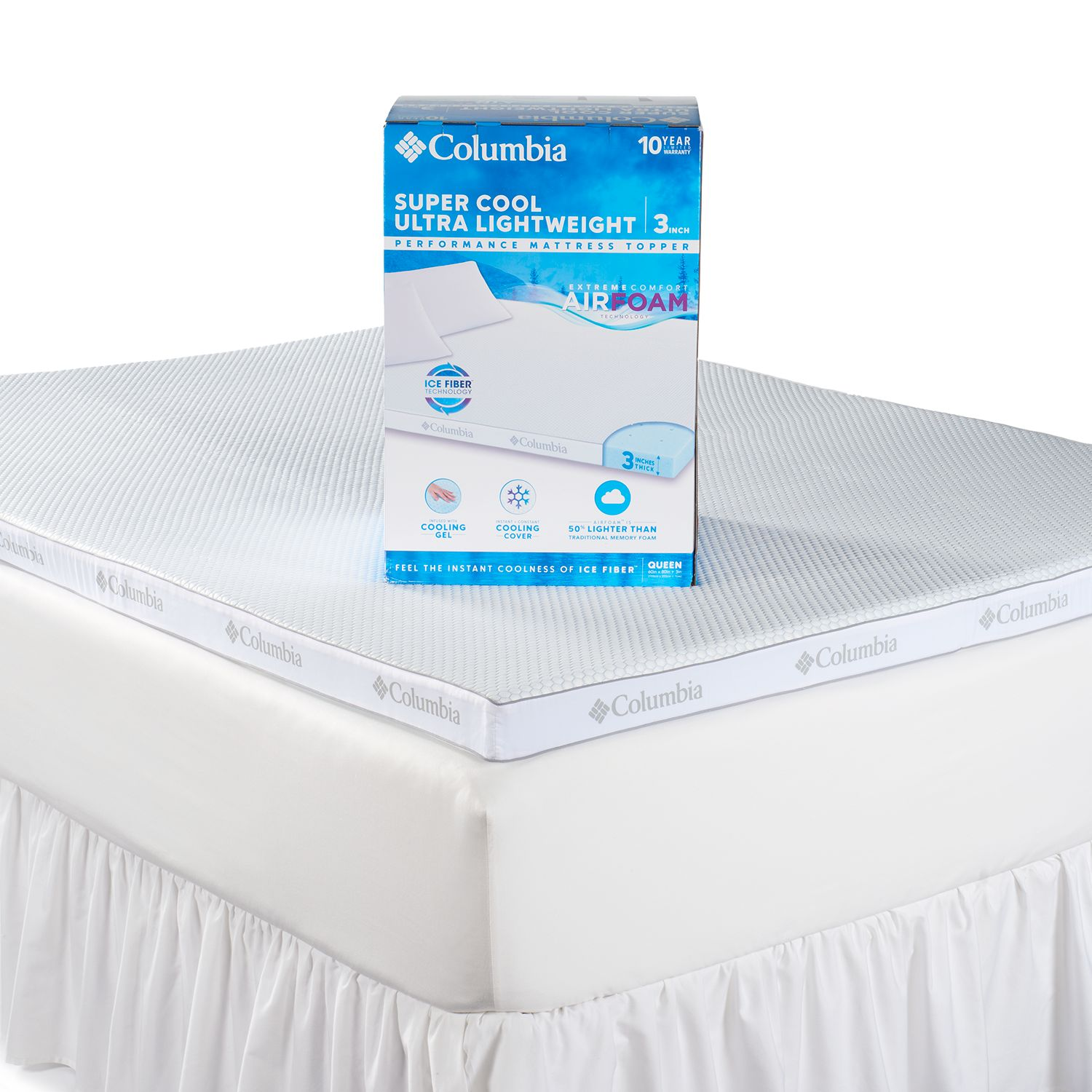 columbia super cool 3inch performance mattress topper