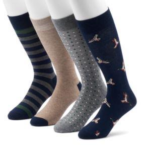 Men's Croft & Barrow® 4-pack Duck & Patterned Crew Socks
