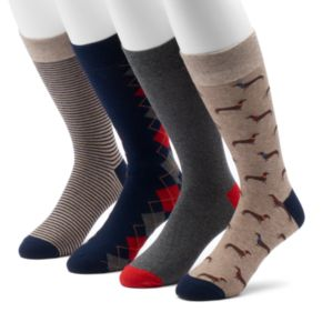 Men's Croft & Barrow® 4-pack Dachshund & Patterned Crew Socks