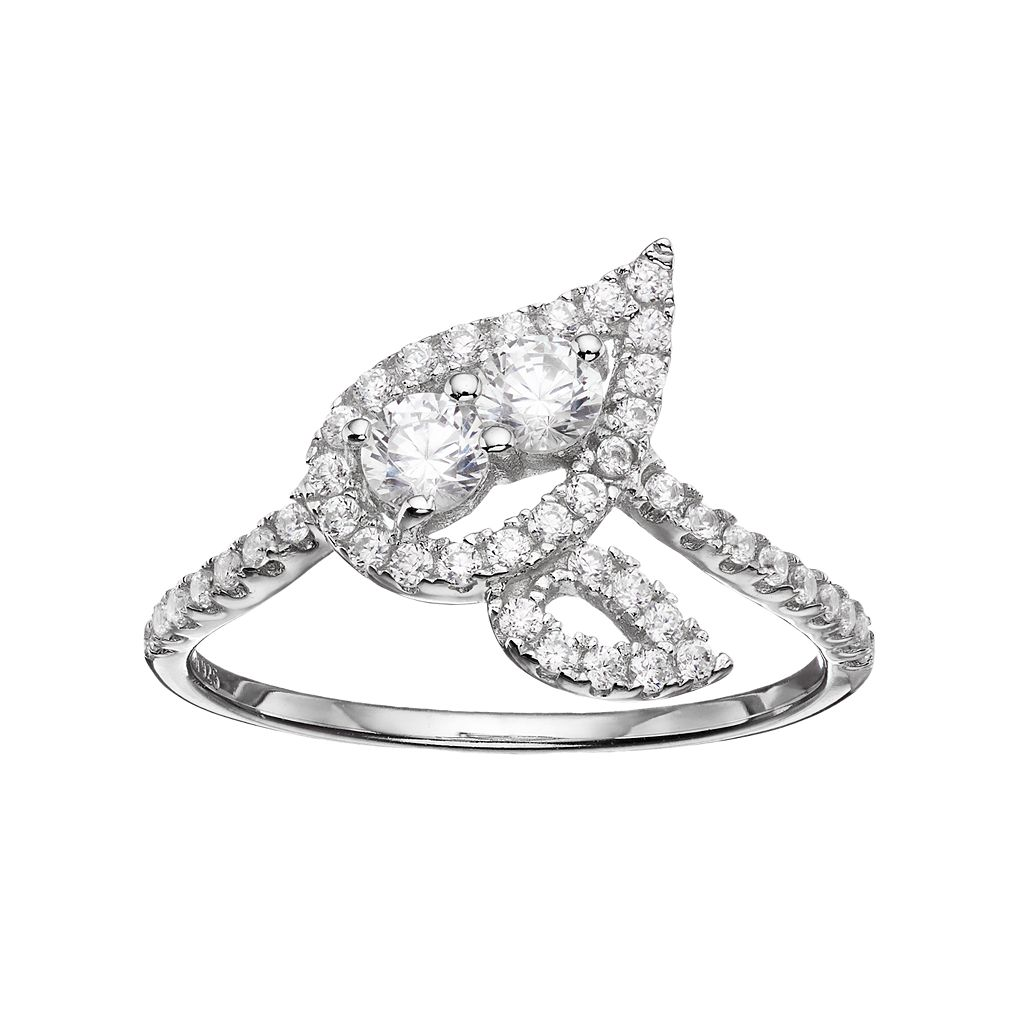 INTERTWINED Sterling Silver Cubic Zirconia 2-Stone Leaf Ring
