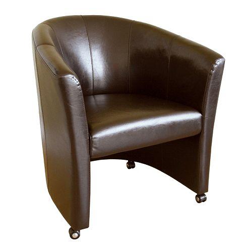 Baxton Studio Wheeled Leather Club Chair