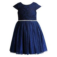 Girls 4-6x Youngland Navy Glitter Lace Dress
