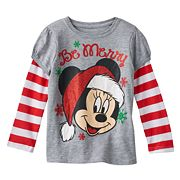 Disney's Minnie Mouse 'Be Merry' Toddler Girl Mock-Layered Long Sleeve Graphic Tee