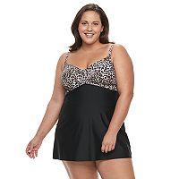 Plus Size Croft & Barrow® Crossover Swimdress