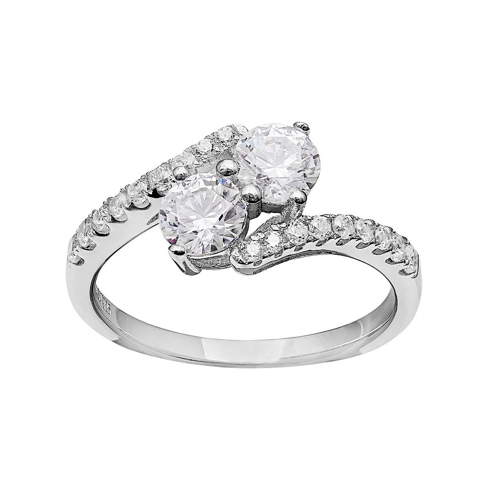 e115be251e62b INTERTWINED Sterling Silver Cubic Zirconia 2-Stone Ring