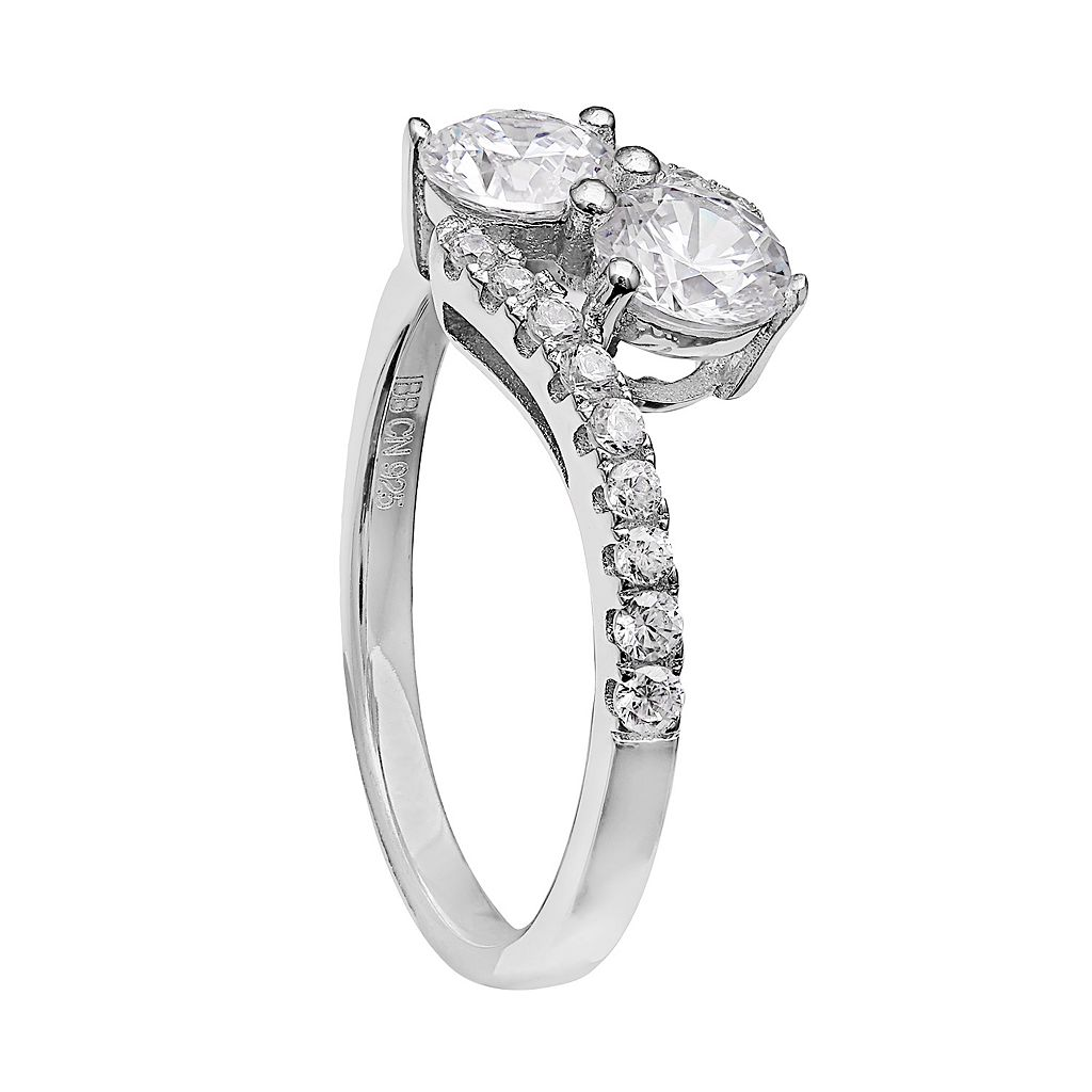 INTERTWINED Sterling Silver Cubic Zirconia 2-Stone Ring