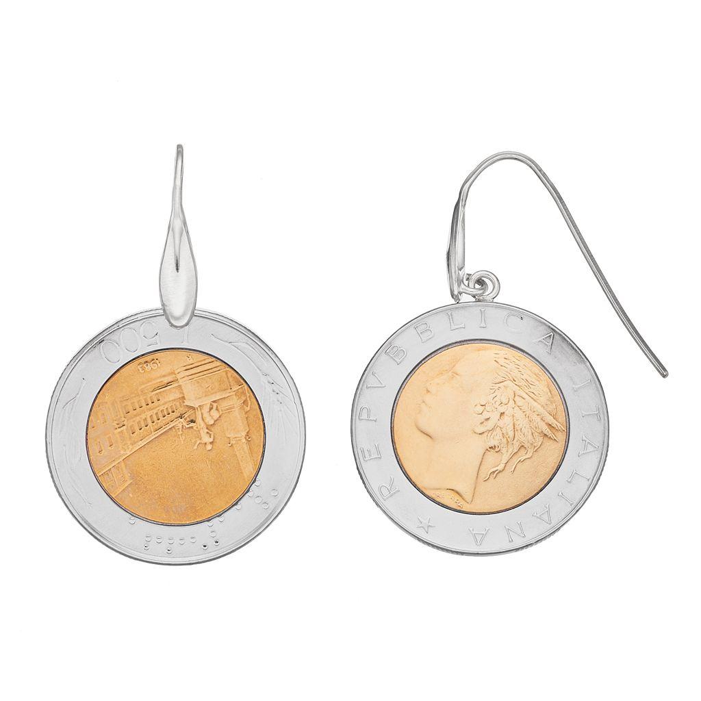 Sterling Silver Italian Lira Coin Drop Earrings