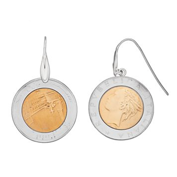 Sterling Silver Italian Lira Coin Drop Earrings