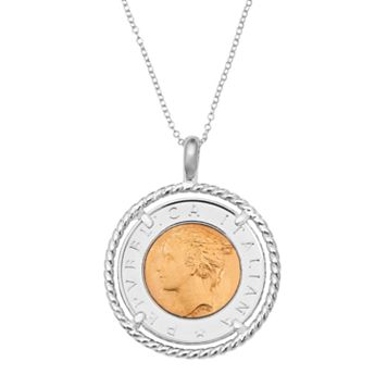 Sterling Silver Italian Lira Coin Pendant Necklace