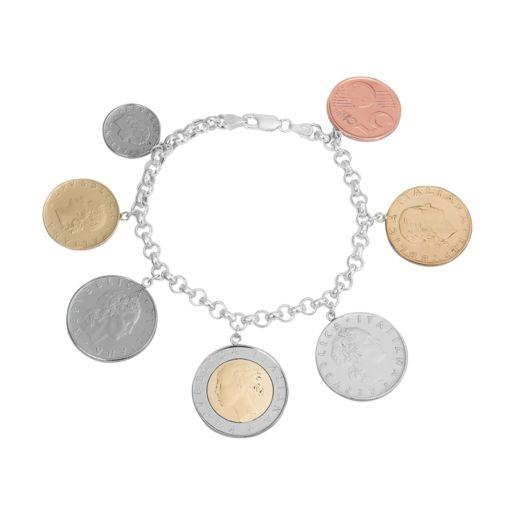Sterling Silver Italian Lira Coin Bracelet