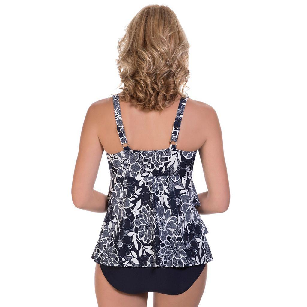 Women's Upstream Tummy Slimmer Floral Tiered One-Piece Swimsuit