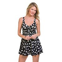 Women's Upstream Hip Minimizer Brushstroke Bow-Front Swimdress