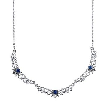 Downton Abbey Blue Filigree Necklace
