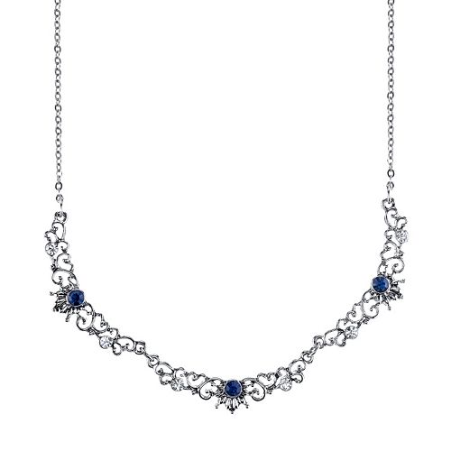 Downton Abbey Blue Filigree Necklace