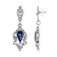 Downton Abbey Blue Faceted Drop Earrings