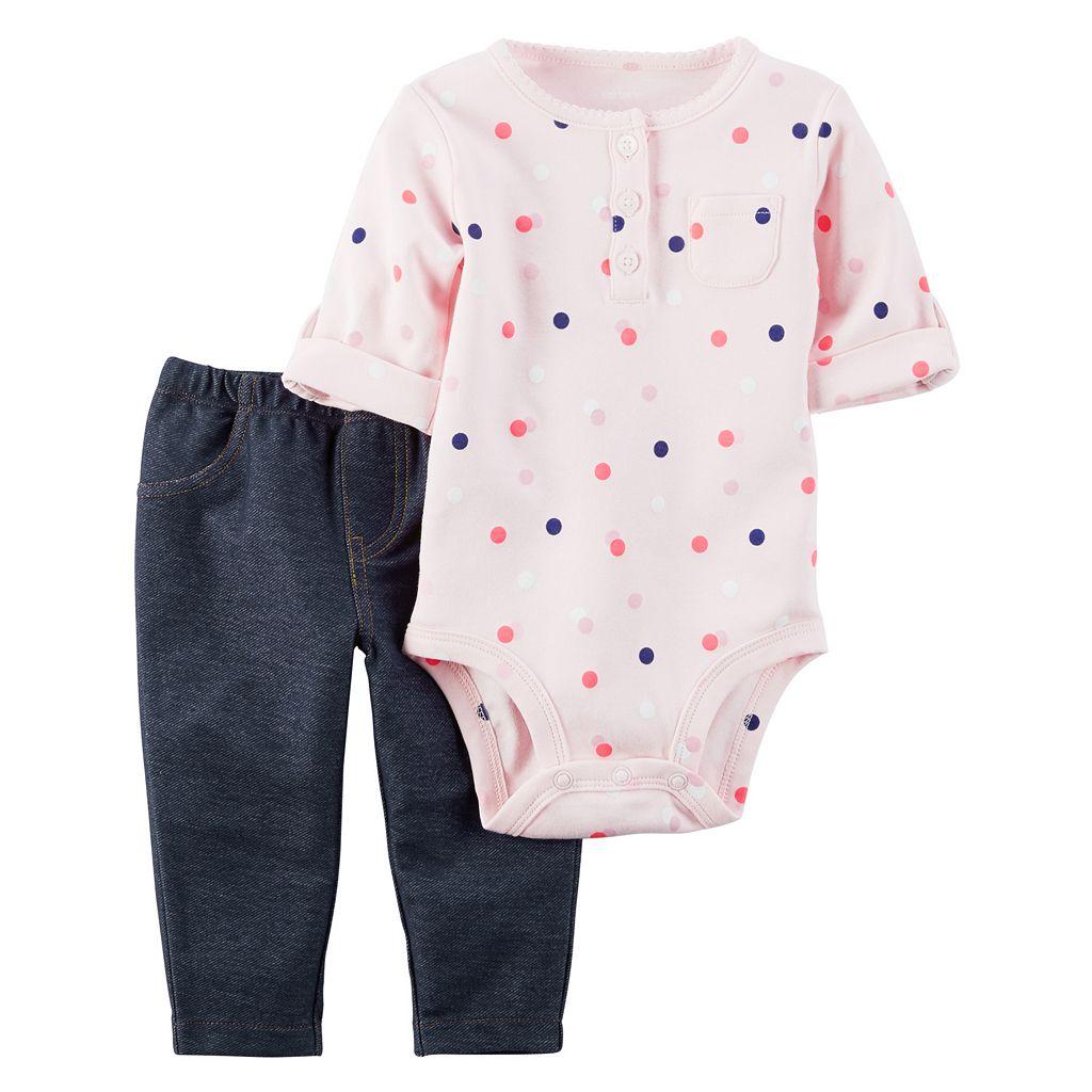 Baby Girl Carter's Polka-Dot Henley Bodysuit & Jeggings Set