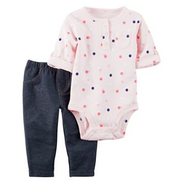 Baby Girl Carter's Polka-Dot Henley Bodysuit & Jeggings Set
