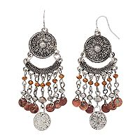 Mudd® Beaded Medallion Nickel Free Chandelier Earrings