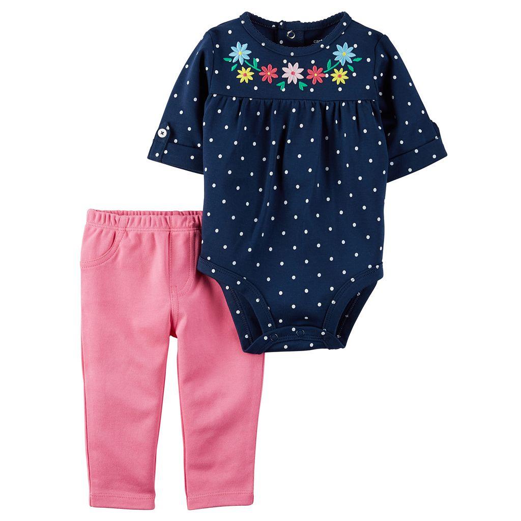 Baby Girl Carter's Polka-Dot Bodysuit & Solid Leggings Set