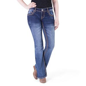 Juniors' Amethyst Studded Bootcut Jeans