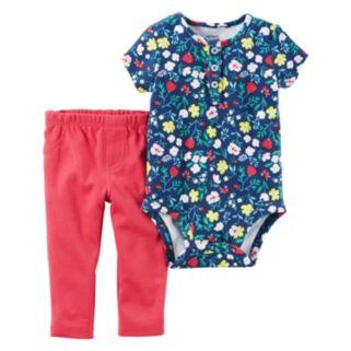 Baby Girl Carter's Floral Henley Bodysuit & Solid Leggings Set