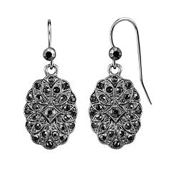 1928 Black Medallion Nickel Free Drop Earrings
