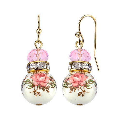 1928 Pink Beaded Rose Drop Earrings