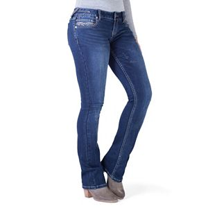 Juniors' Amethyst Embroidered Bootcut Jeans