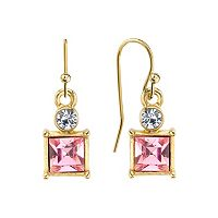 1928 Pink Faceted Square Drop Earrings