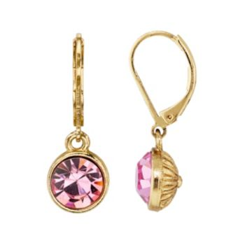1928 Pink Faceted Circle Drop Earrings