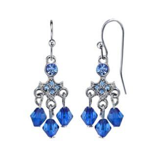 1928 Blue Beaded Nickel Free Chandelier Earrings